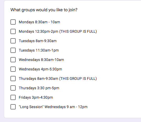 Screenshot of form to sign up for writing groups. 10 different dates/times, each with a checkbox.